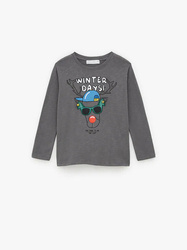 Bluzka Zara Blouse With A Reindeer Print
